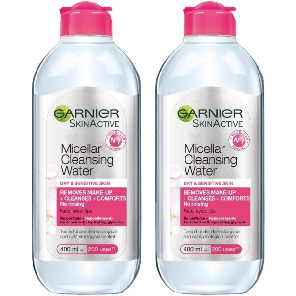 2 x Garnier Skinactive Cleansing Micellar Water Dry & Sensitive Skin 400 ml