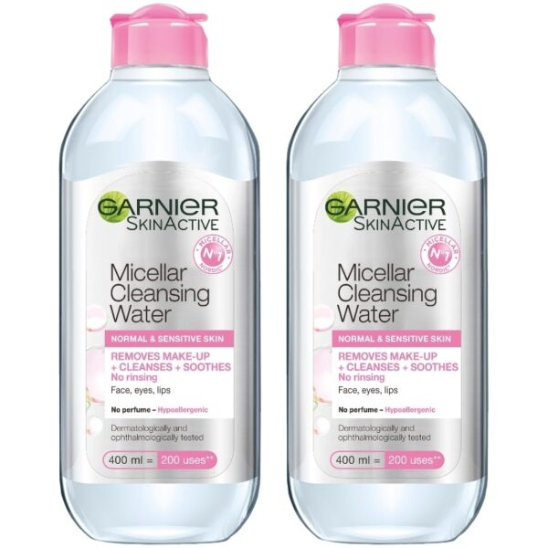 2 x Garnier Skinactive Cleansing Micellar Water Normal & Sensitive Skin 400 ml
